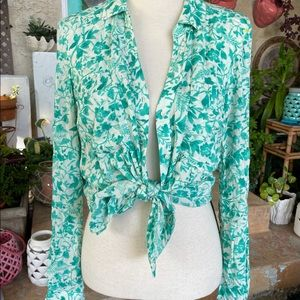Anthropologie Maeve Green White Floral Blouse S